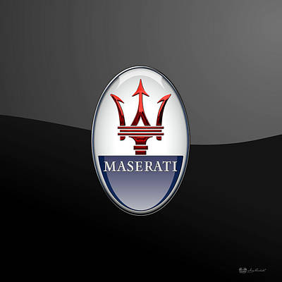 Maserati - 3d Badge On Black Art Print by Serge Averbukh