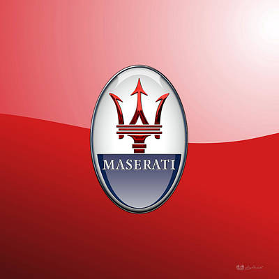 Digital Art - Maserati - 3d Badge On Red by Serge Averbukh