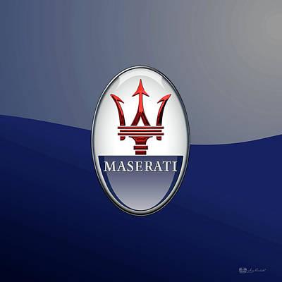 Digital Art - Maserati 3d Badge Special Edition On Blue by Serge Averbukh