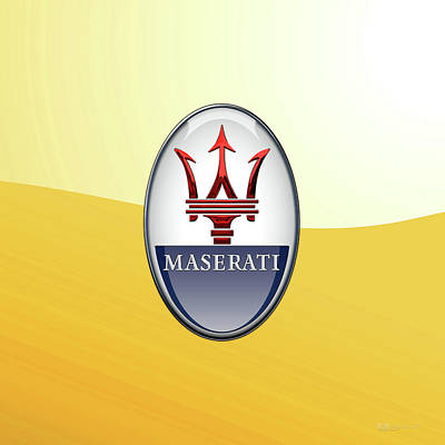 Digital Art - Maserati 3d Badge Special Edition On Yellow by Serge Averbukh