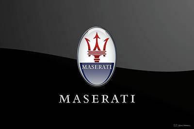 Digital Art - Maserati Badge - Luxury Edition On Black by Serge Averbukh