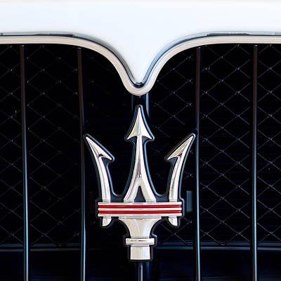 Photograph - Maserati Emblem White Sq by Rospotte Photography