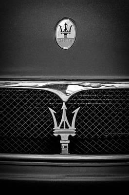 Photograph - Maserati Hood - Grille Emblems -0802bw by Jill Reger