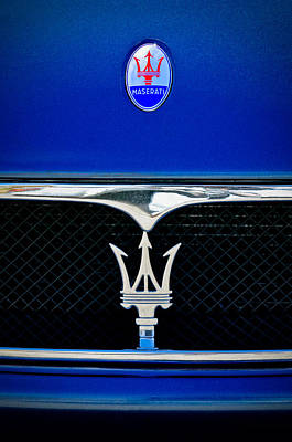 Maserati Hood - Grille Emblems Print by Jill Reger