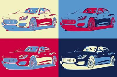 Mixed Media - Maserati Pop Art Panels by Dan Sproul