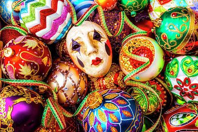 Photograph - Mask And Christmas Ornaments by Garry Gay