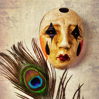 Photograph - Mask And Peacock Feather by Garry Gay