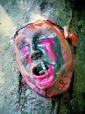 Plaster Mask Painting - Mask Attached To Trunk 1 by Lanjee Chee