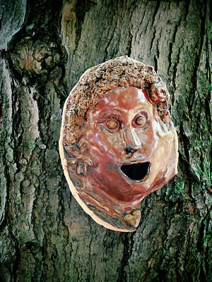 Plaster Mask Painting - Mask Attached To Trunk 2 by Lanjee Chee