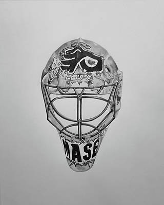Philadelphia Flyers Drawing - Mask Of Mason  by John Chattley
