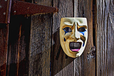 Lips Photograph - Mask On Barn Door by Garry Gay
