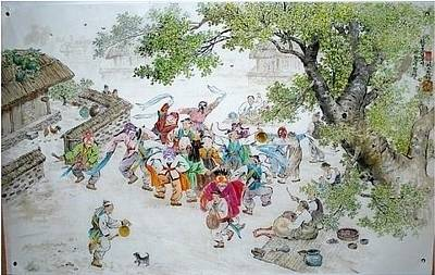 North Korea Painting - Masked Dance by Changnahm Ahn