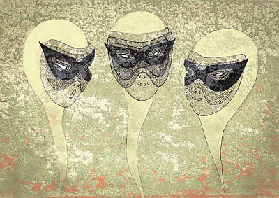 Drawing - Masked Heads by Nareeta Martin