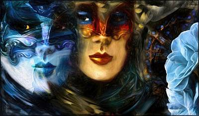 Masks And Blue Camellias  Original by Daniel Arrhakis
