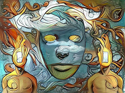 Surrealism Royalty Free Images - Masks Royalty-Free Image by Bruce Rolff