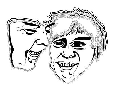 Drawing - Masks by Daniel Schubarth