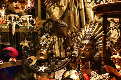 Digital Art - Impressions Of Venice - Sun And Moon Venetian Carnival Masks by Georgia Mizuleva