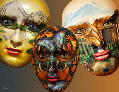 Masks On The Wall Art Print by Farol Tomson