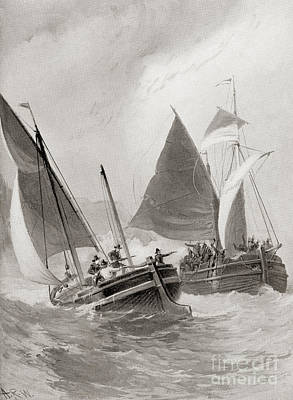 Mason And Gallop Attacking The Indians Off Block Island Art Print by American School