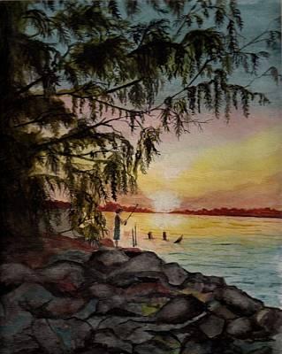 Painting - Mason Fishing At Sunset by Chris Bajon Jones