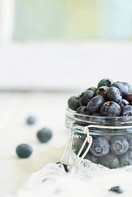 Photograph - Mason Jar Full Of Blueberries by Stephanie Frey