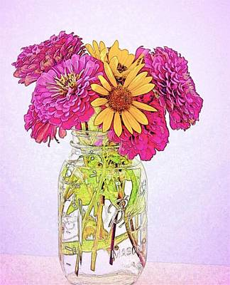 Photograph - Mason Jar Of Daisy Flowers by Kristina Deane