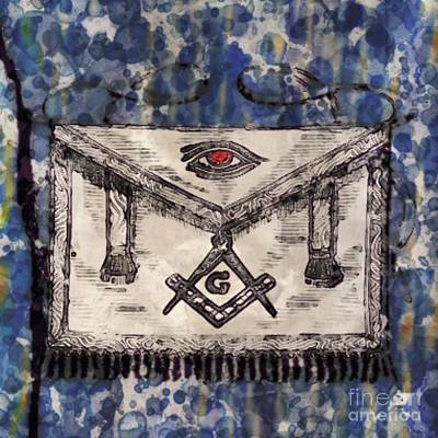 Monets Water Lilies Rights Managed Images - Masonic Apron and Symbols by Raphael Terra and Mary Bassett Royalty-Free Image by Esoterica Art Agency
