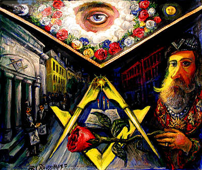 Painting - Masonic Apron, Light Out Of Darkness by Ari Roussimoff