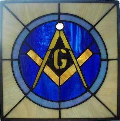Glass Art - Masonic Emblem by Liz Lowder