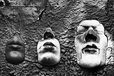 Photograph - Masques On John Lennon Wall Prague Bw by Mihaela Pater