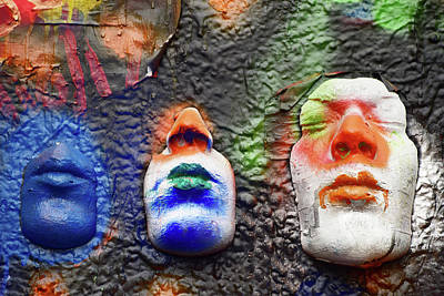 Photograph - Masques On John Lennon Wall Prague by Mihaela Pater