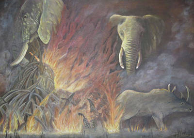 Asian Rhino Painting - Mass Extinction by Mo Lee