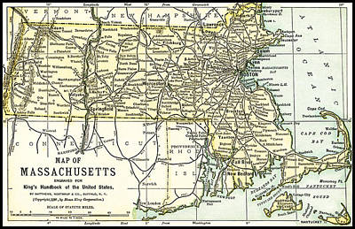 Photograph - Massachusetts Antique Map 1891 by Phil Cardamone