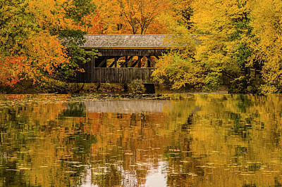 Landscape Photograph - Massachusetts Covered Bridge by Jeff Folger