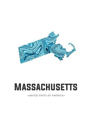 Mixed Media - Massachusetts Map Art Abstract In Blue by Studio Grafiikka