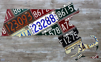 Massachusetts Map Recycled Vintage License Plate Art Very Old Plates Edition Art Print