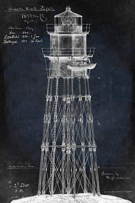 Massachusetts Minot's Ledge Lighthouse Blueprint  1850 Art Print by Daniel Hagerman