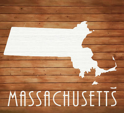 Harvard Mixed Media - Massachusetts Rustic Map On Wood by Dan Sproul