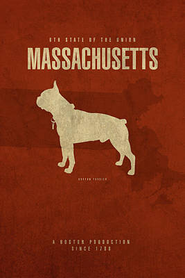 Dog Mixed Media - Massachusetts State Facts Minimalist Movie Poster Art by Design Turnpike