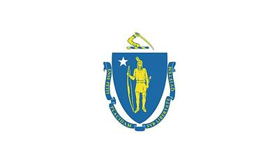 Massachusetts State Flag Print by American School