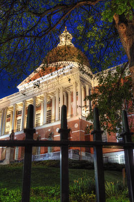 Photograph - Massachusetts State House At Night - Boston by Joann Vitali