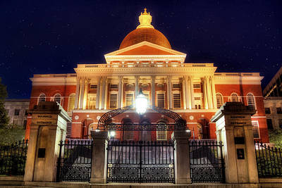 Photograph - Massachusetts State House At Night by Joann Vitali