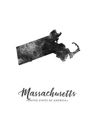 Door Locks And Handles - Massachusetts State Map Art - Grunge Silhouette by Studio Grafiikka