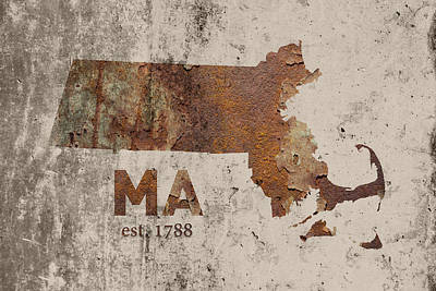 Massachusetts State Map Industrial Rusted Metal On Cement Wall With Founding Date Series 016 Art Print