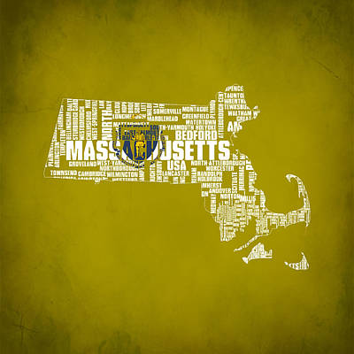 Mayflower Mixed Media - Massachusetts Typographic Map by Brian Reaves