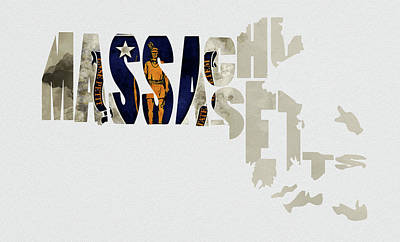 Cambridge Mixed Media - Massachusetts Typography Map Flag by Kevin O'Hare