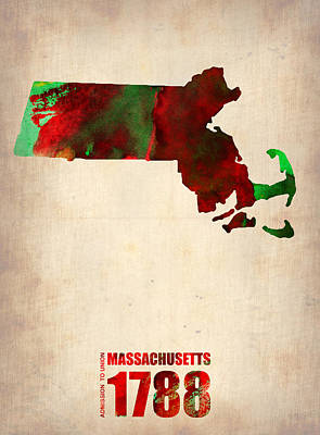 Modern Poster Digital Art - Massachusetts Watercolor Map by Naxart Studio
