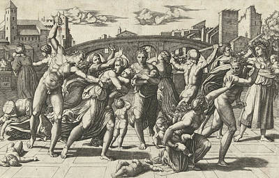 Massacre Of The Innocents Art Print by Marcantonio Raimondi