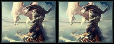 Conversion Digital Art - Massive Dragon - Gently Cross Your Eyes And Focus On The Middle Image by Brian Wallace