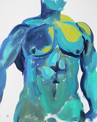 Painting - Massive Hunk Blue-green by Shungaboy X